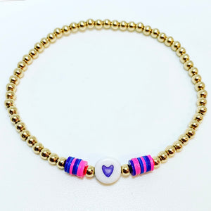 Gold Bracelet with Heart and Rainbow Discs