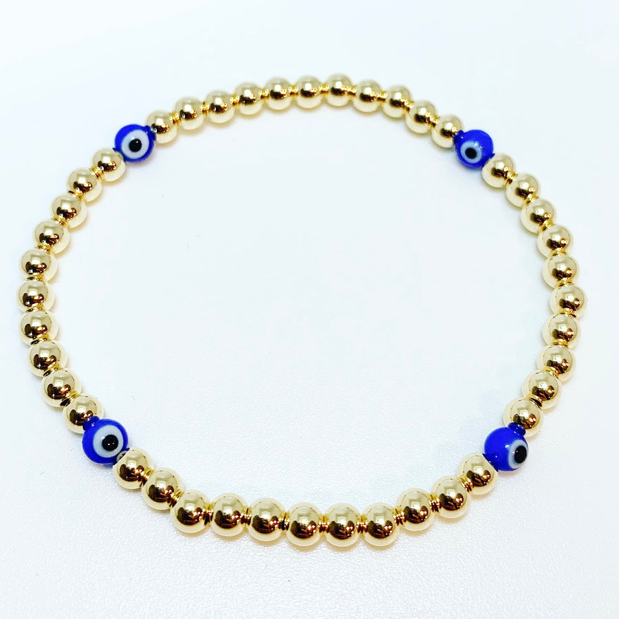 Gold Bracelet with Blue Evil Eye Beads