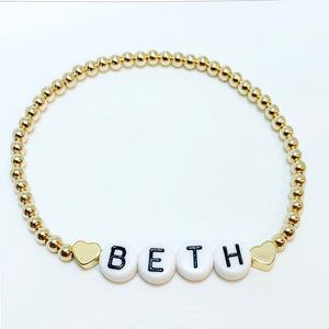 Name Bracelet with Two Gold Hearts