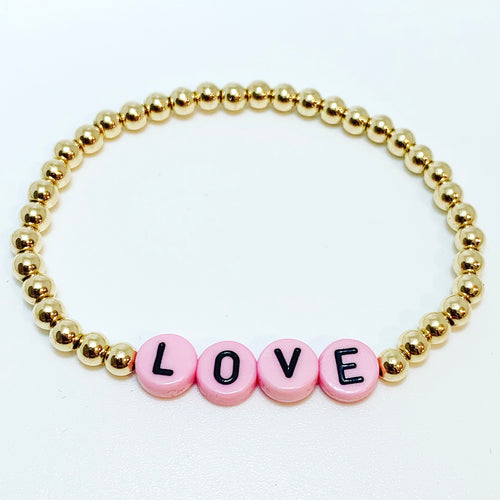 Kids Gold Bracelet with Pink/Black Letter Beads