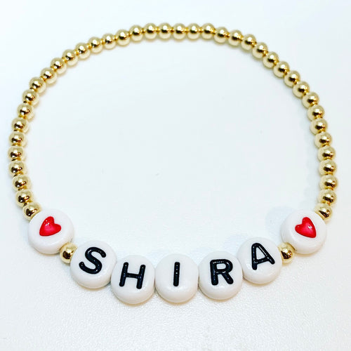 KIDS 3mm Gold with name and hearts
