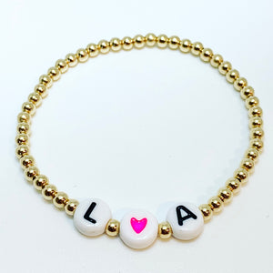 Initial Bracelet with Colored Hearts
