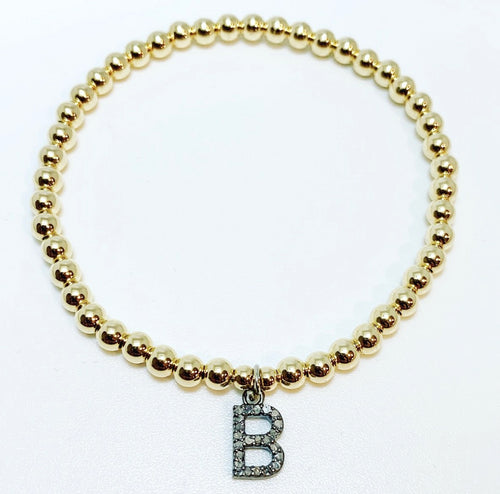 Pave Diamond Initial Charms on Beaded Stretch Bracelet