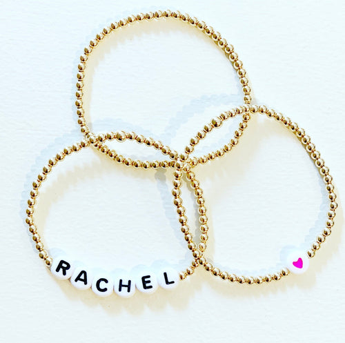 Bracelet Stack with Heart and Name