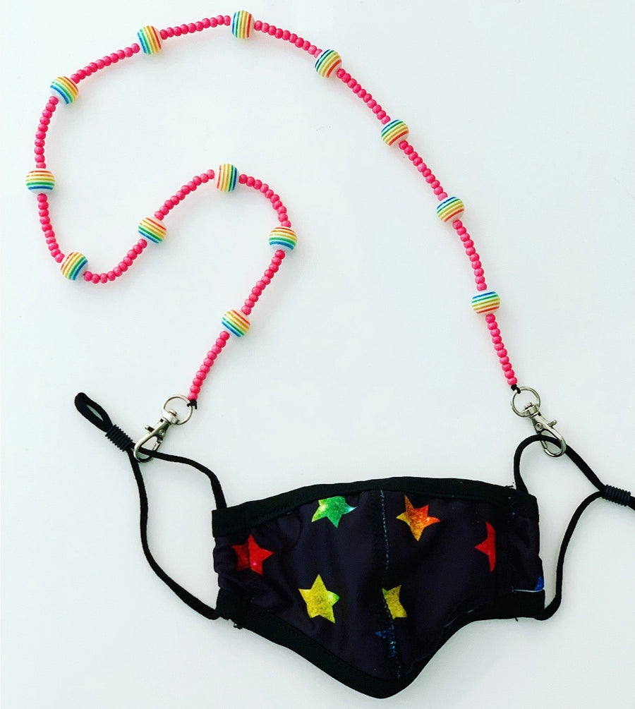 Mask Chain - Pink with Rainbow Stripe Balls