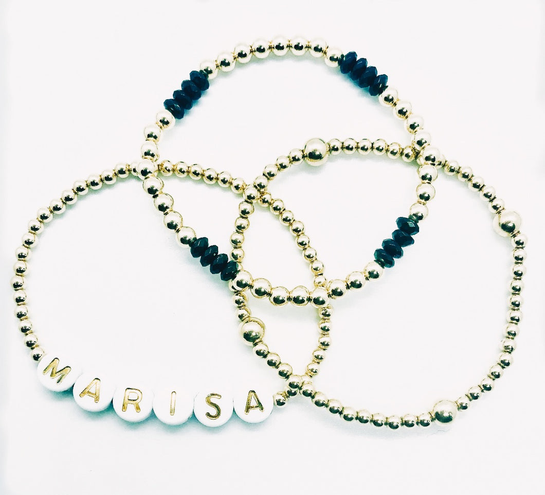 Set of 3 Bracelet Stack with Gold Letters and Gemstones