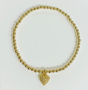KIDS 3mm Gold Bracelet with hanging heart charm