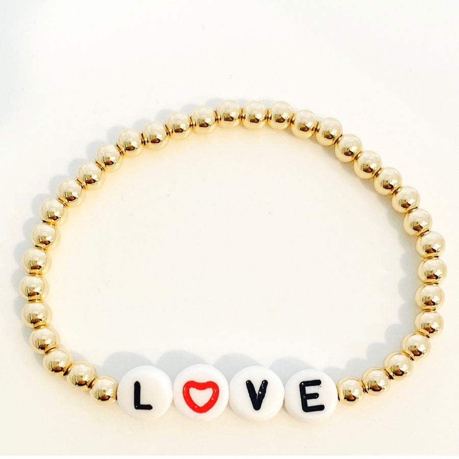 Open Heart Love Beaded Stretch Bracelet