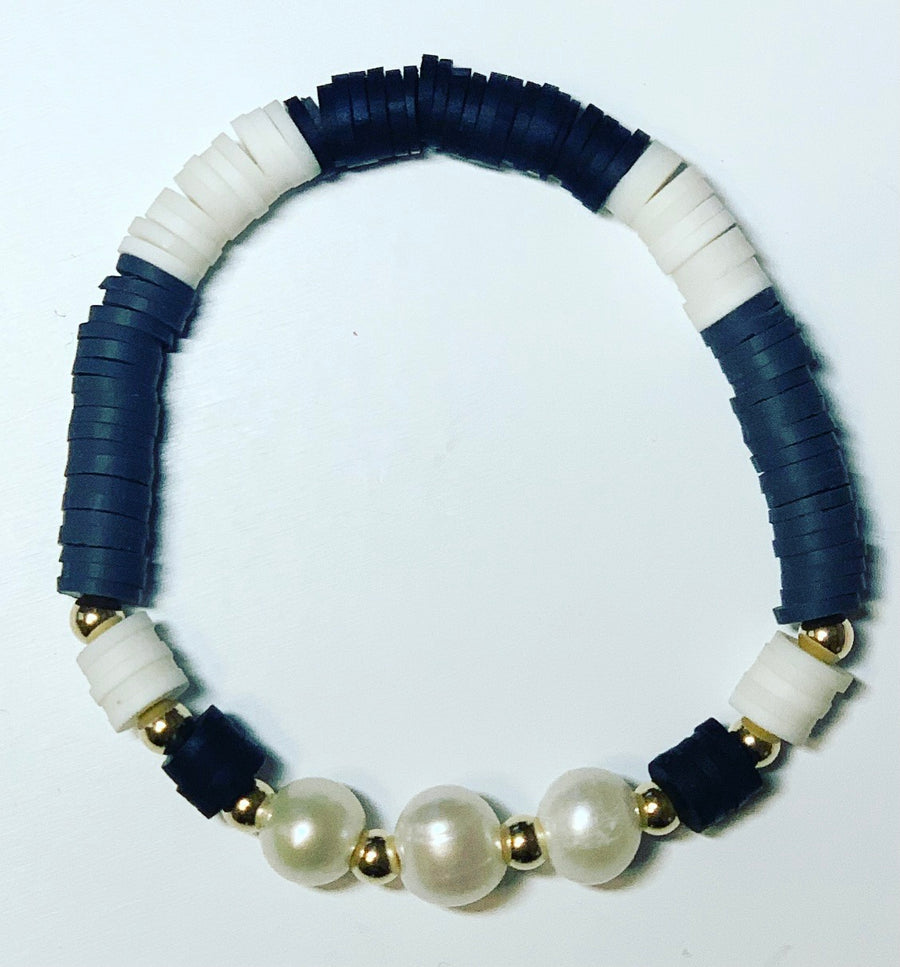 Rubber Disc Bracelet with Pearl detail