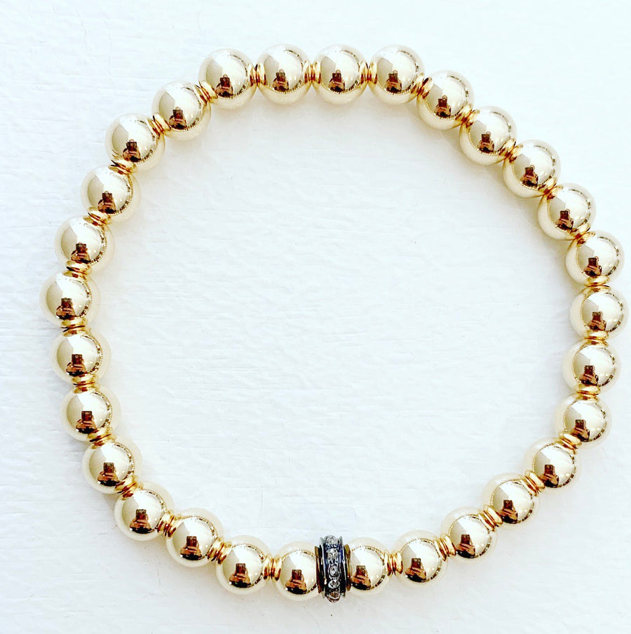 6mm Beaded Stretch Bracelet with Diamond Rondelle