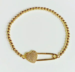 Gold Bracelet with Heart Safety Pin Connector Charm