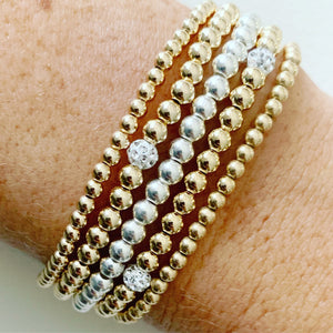 Beaded Stretch Bracelet with 1 Crystal Ball