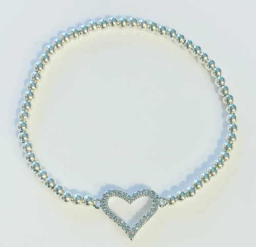 Silver Bracelet with Crystal Heart Connector