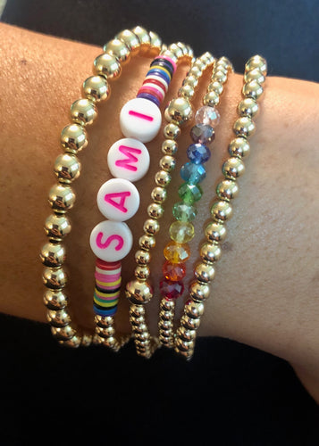 Rainbow and Name Bracelet Stack
