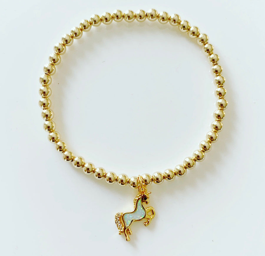 Gold Bracelet with Unicorn Charm