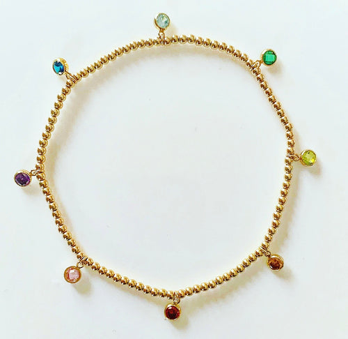3mm gold ball bracelet with rainbow stone charms