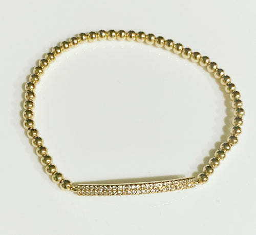 Gold Bracelet with Crystal Bar Connector