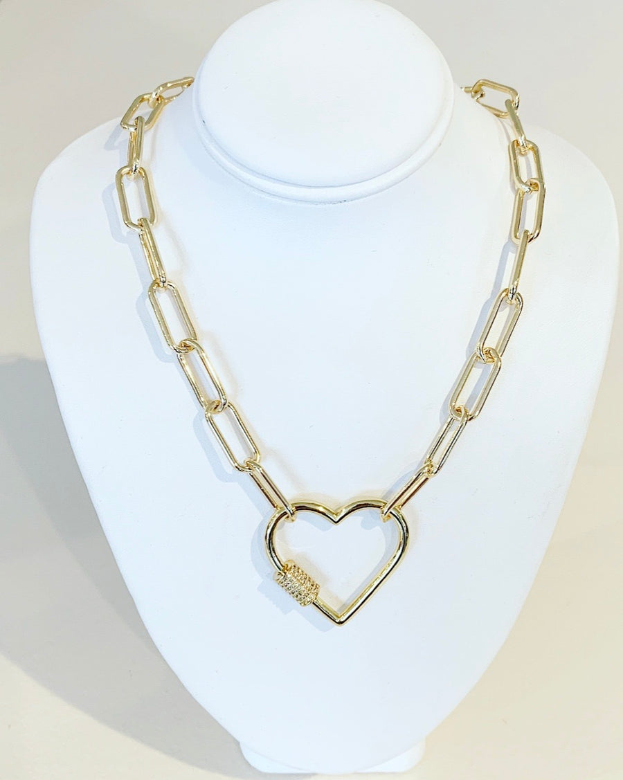 Paperclip Chain Necklace with Heart toggle