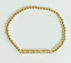 Gold Bracelet with Open Crystal Connector Bar