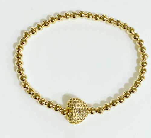 Gold Bracelet with Heart Detail