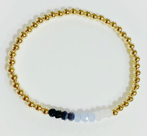Bracelet with Blue and white Ombré Gemstones