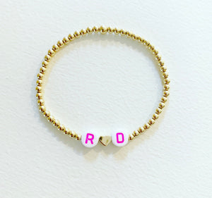 KIDS Gold Two Initial Bracelet with Gold Heart