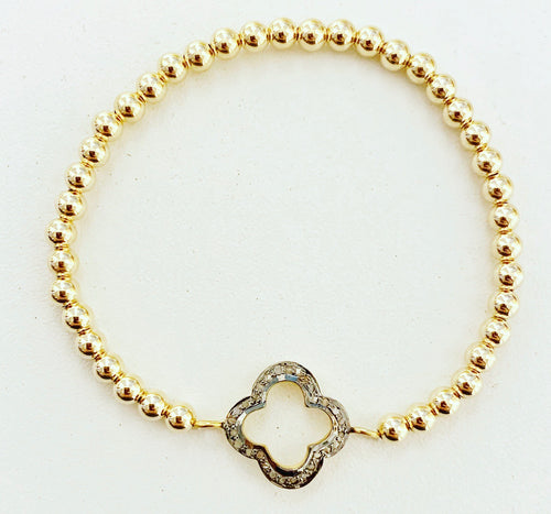 Diamond Clover Beaded Stretch Bracelet