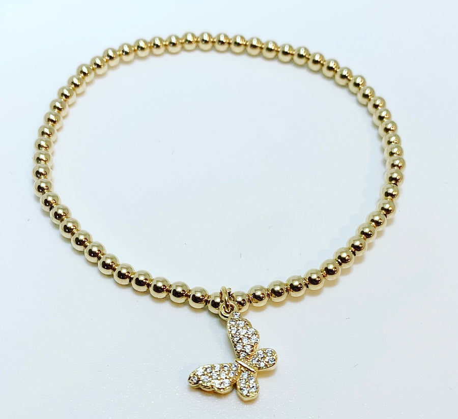 KIDS 3mm Gold Bracelet with hanging butterfly charm