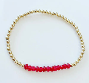 Bracelet with Red Jade Gemstones