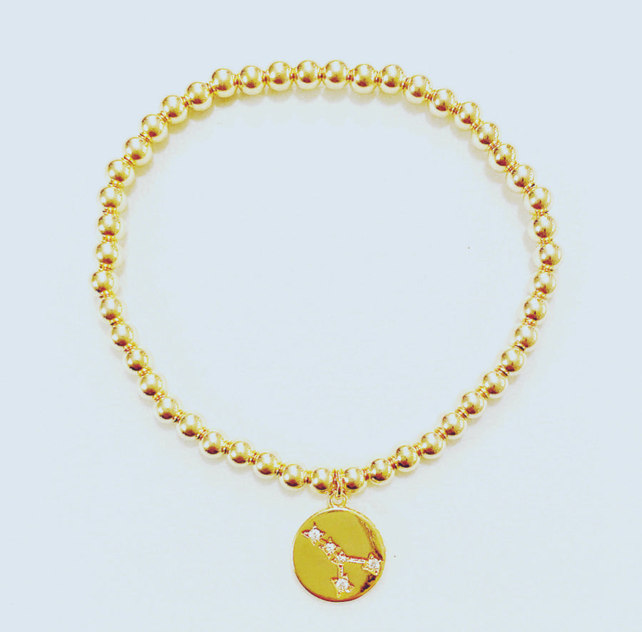 Gold Bracelet with Zodiac Charm