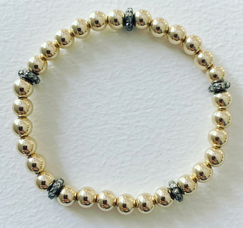 5mm Beaded Stretch Bracelet with Diamond Rondelles