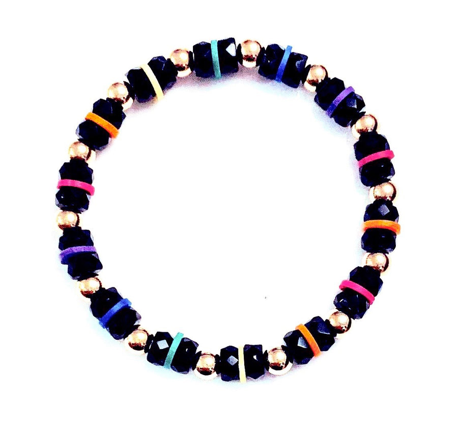 Gold and Black Rainbow Bracelet