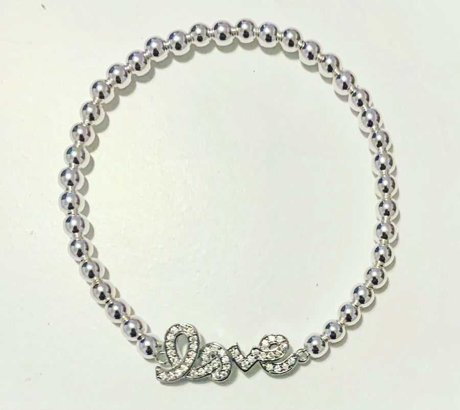 Silver Bracelet with Love Connector Charm