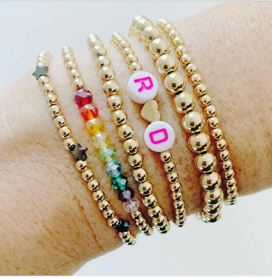 KIDS 3mm Gold Bracelet with Rainbow Ombre Stones