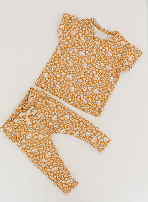 Mustard Floral Two-Piece Spring Pocket Set