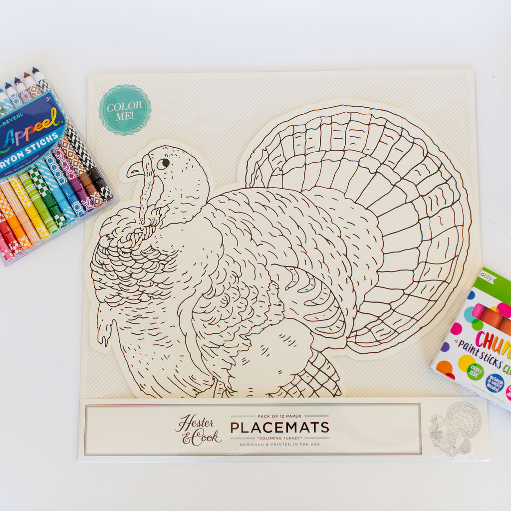 Die Cut Coloring Turkey Placemats