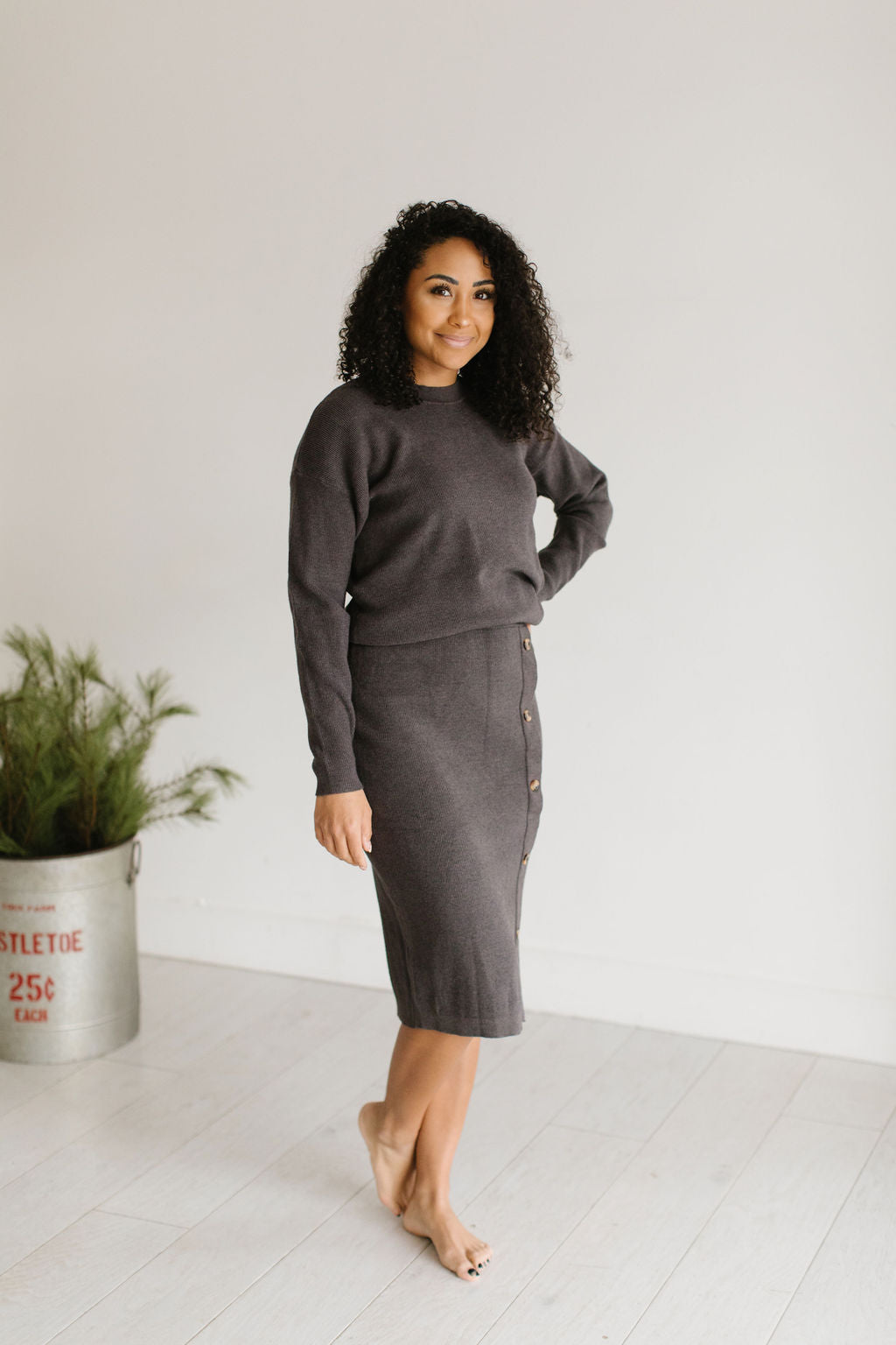 The Chrisley Sweater Top - CHARCOAL