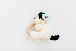 Bashful Black & Cream Puppy Wooden Ring Toy