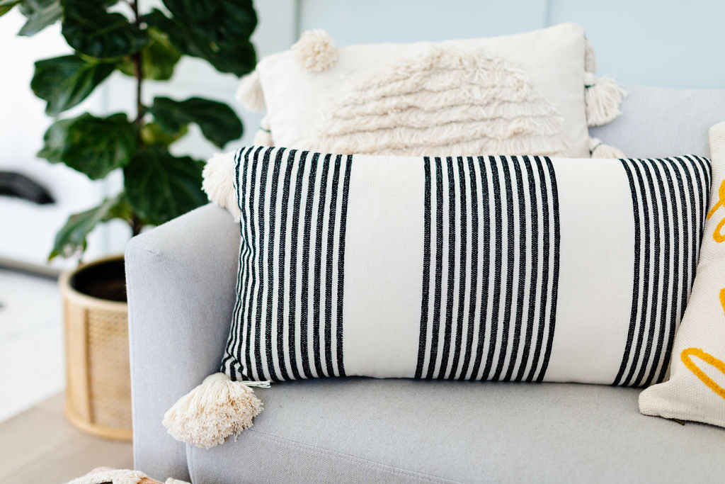 Black Stripe Lumbar Pillow