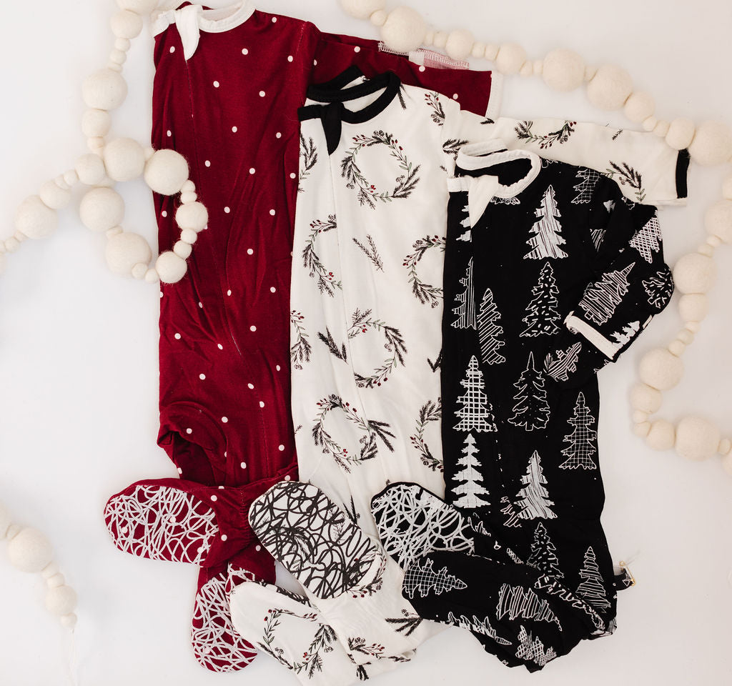 Winter Polkadot Bamboo Footed Sleeper