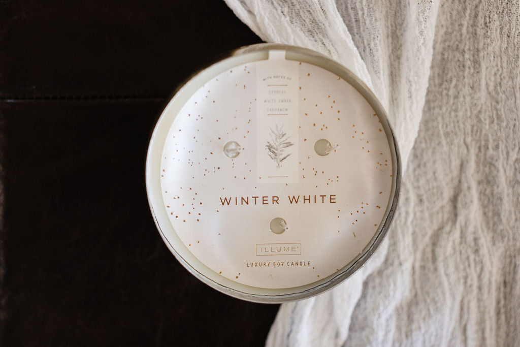 Winter White Large Iced Metal Candle 18oz
