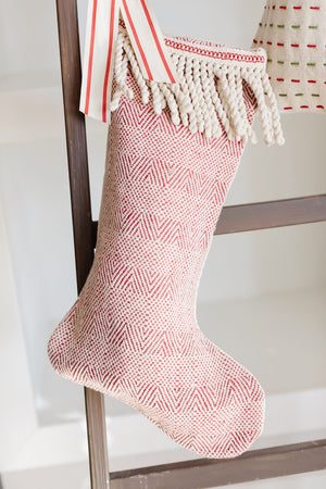 "Red & White Woven Stocking 20""H"