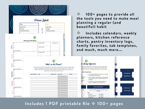 Streamline and simplify your meal planning, grocery planning, and dinner prep with a Kitchen & Meal Planning Binder that includes multiple customizable meal planners, comprehensive kitchen references, and more!