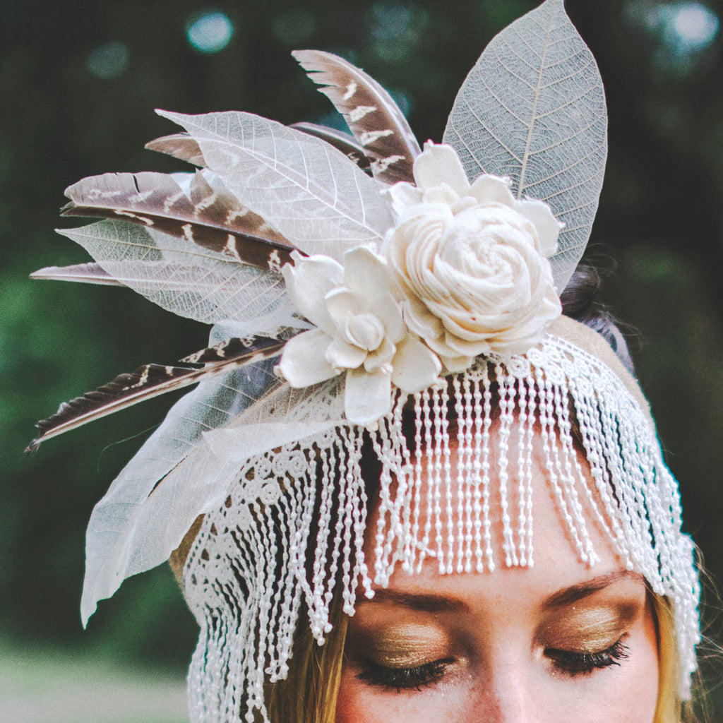 Headpiece with White Paper Rose