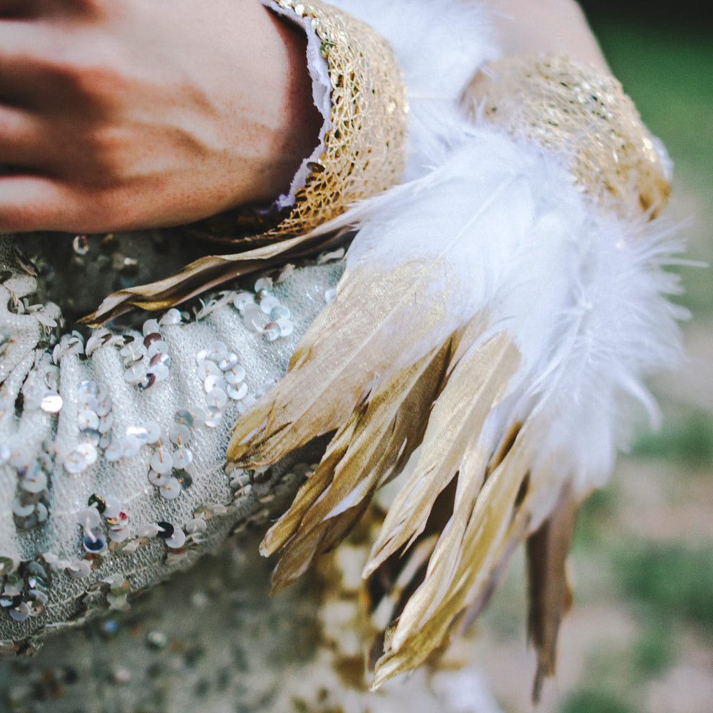 Wrist Cuff with White Feathers and Gold Filigree