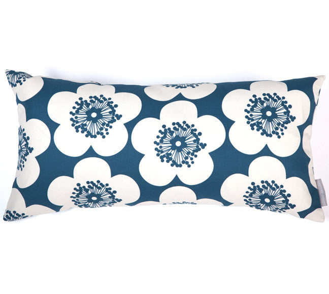 Pop Floral Ink Bolster Pillow