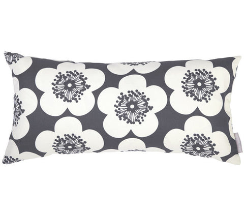 Pop Floral Charcoal Bolster Pillow