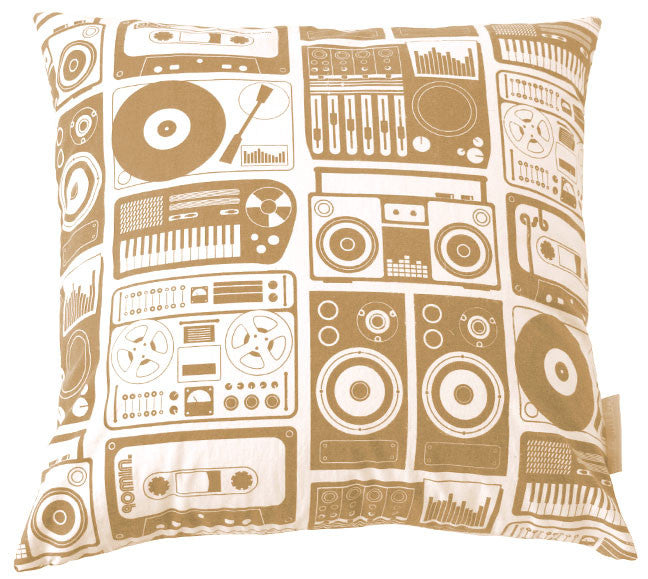 Analog Nights Curry Square Pillow