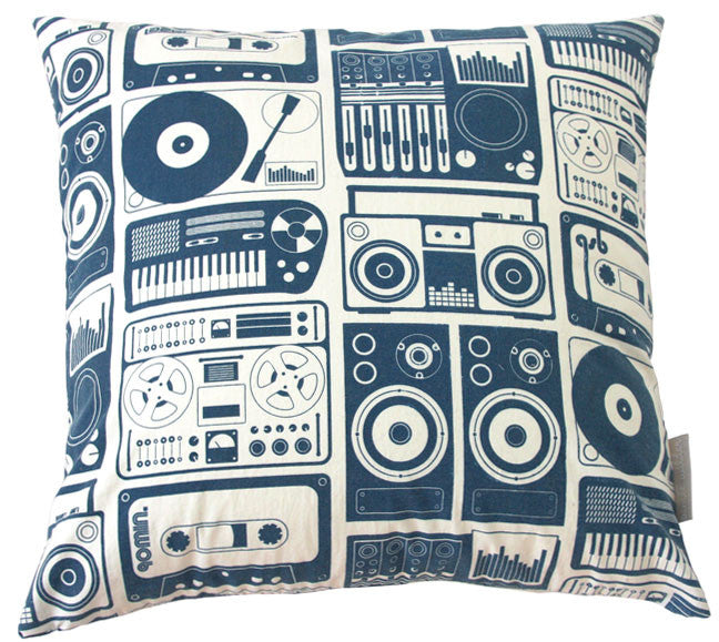 Analog Nights Dark Denim Square Pillow