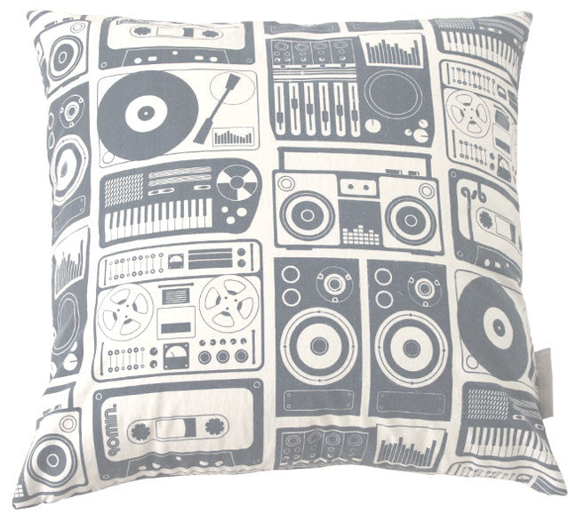 Analog Nights Steel Grey Square Pillow